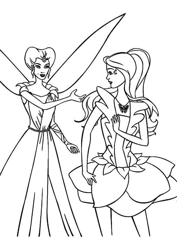 Barbie Fairytopia, : Enchantress Talking to Barbie Elina in Barbie Fairytopia World Coloring Pages