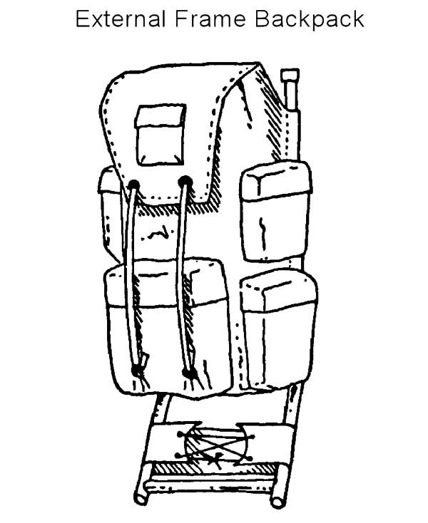 Backpack, : External Frame Backpack Coloring Pages