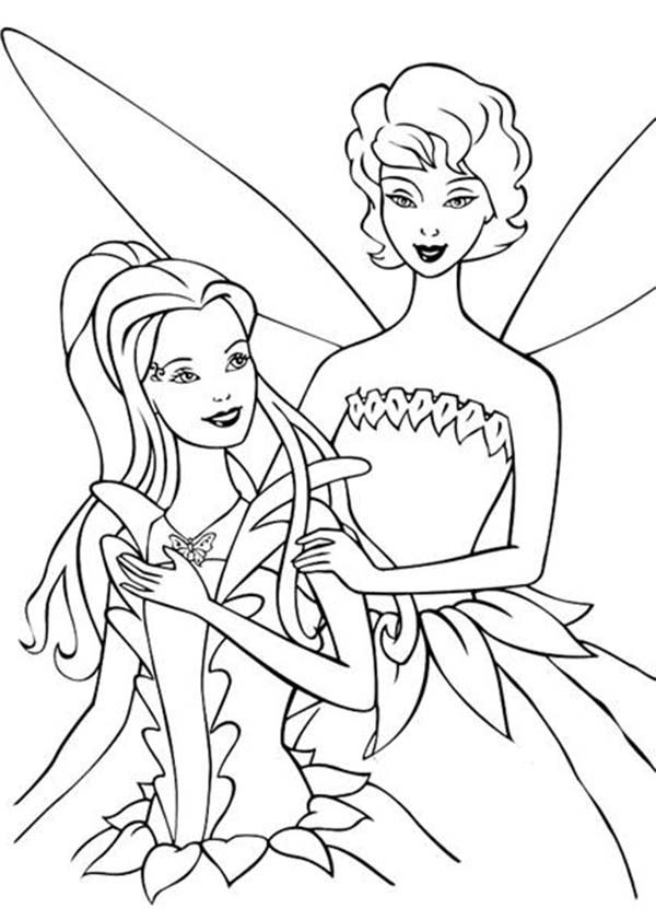 Barbie Fairytopia, : Fairy Dandelion Chatting with Barbie Elina in Barbie Fairytopia World Coloring Pages