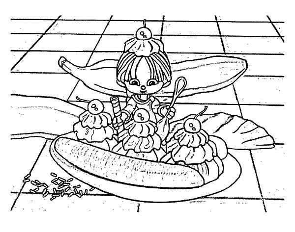 fairy eat banana split coloring pages