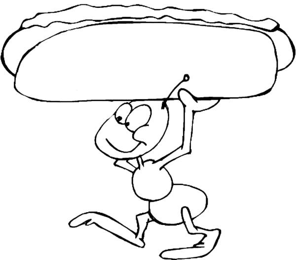 Ants, : Fire Ants Holding Hot Dog Coloring Pages