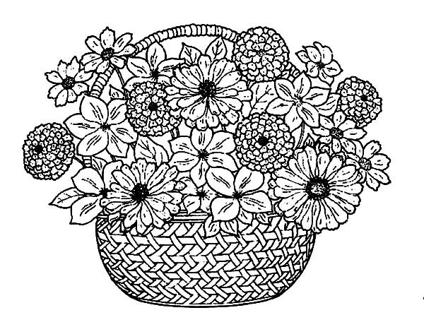 Basket of Flowers, : Flower Bouquet in a Traditional Basket of Flowers Coloring Pages