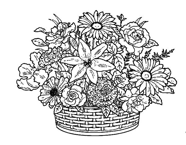 Basket of Flowers, : Flower Collections in a Basket of Flowers Coloring Pages