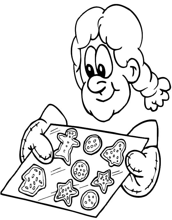 Baking Cookies, : Fresh Baking Cookies Coloring Pages