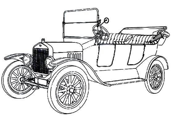 Antique Car, : Fresh and Airy Antique Car Design Coloring Pages