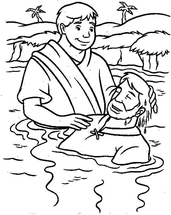 Baptism, : Gospel of Matthew Baptism of Jesus Coloring Pages