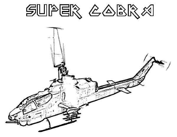 Apache Helicopter, : Helicopter Super Cobra Apache Helicopter Coloring Pages