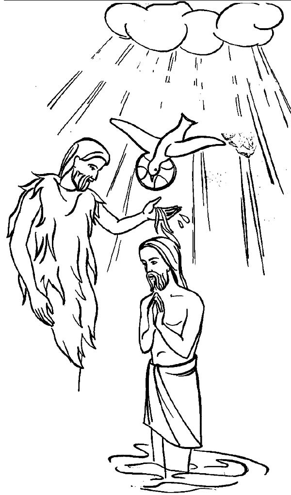 Baptism, : Holy Spirit Baptism of Jesus Coloring Pages