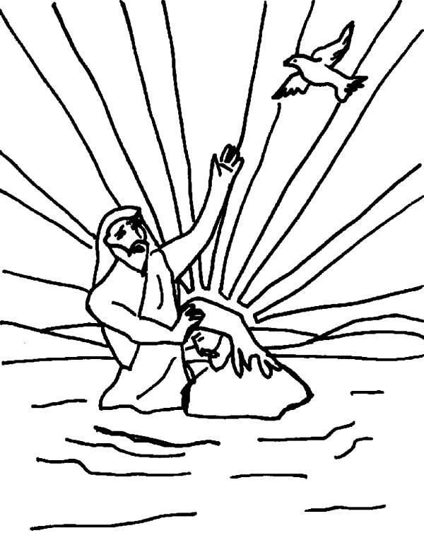 Baptism, : Holy Spirit at Jesus Christ Baptism Ceremonial Coloring Pages