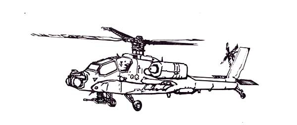 Apache Helicopter, : How to Draw Apache Helicopter Coloring Pages