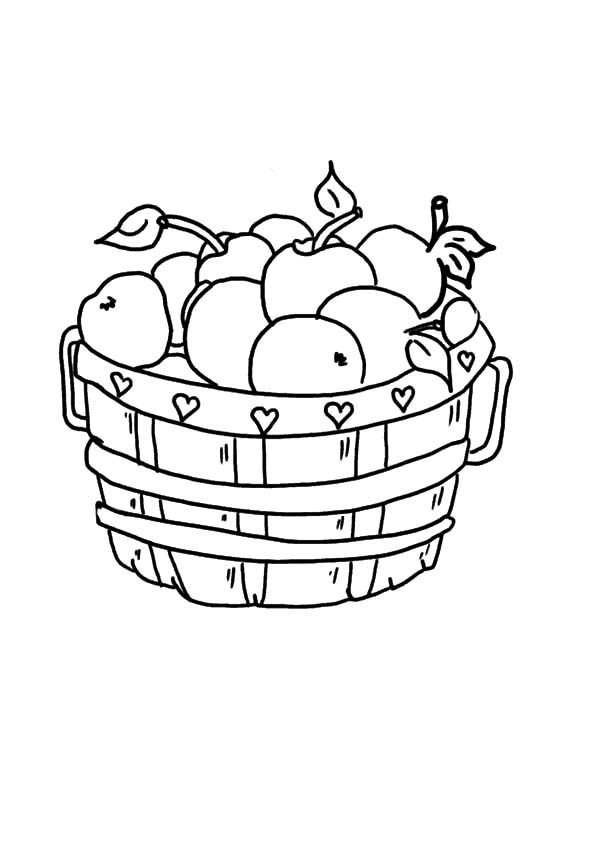 Apple Basket, : How to Draw Apple Basket Coloring Pages