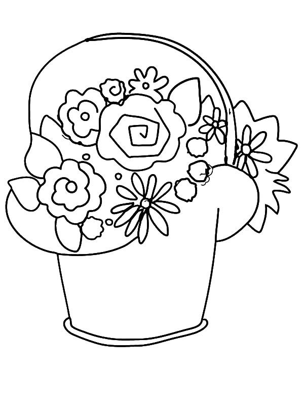 Basket of Flowers, : How to Draw Basket of Flowers Coloring Pages