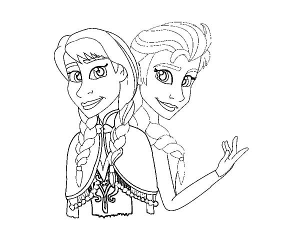 Anna, : How to Draw Princess Anna and Queen Elsa Coloring Pages