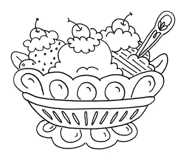 Banana Split, : Ice Creamy Banana Split Coloring Pages