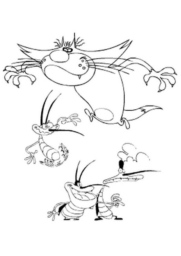 Oggy and the Cockroaches, : Jack Chasing the Cockroaches in Oggy and the Cockroaches Coloring Pages