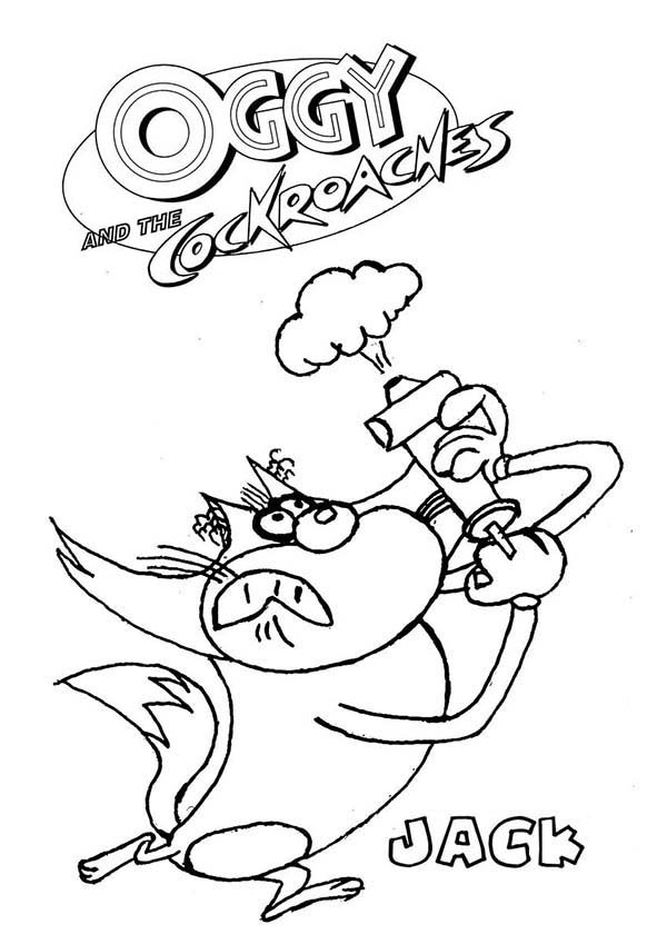 Oggy and the Cockroaches, : Jack Spraying Pestiside in Oggy and the Cockroaches Coloring Pages