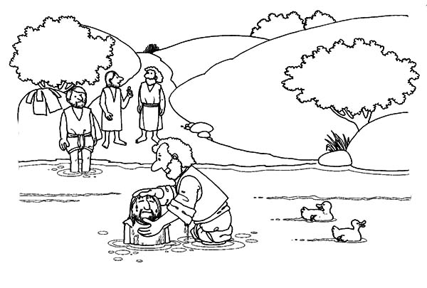 Jesus Baptism At The River Coloring Pages Jesus Baptism Baptism Of Jesus Coloring Page