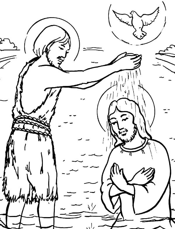 Baptism, : John Baptism of Jesus Coloring Pages