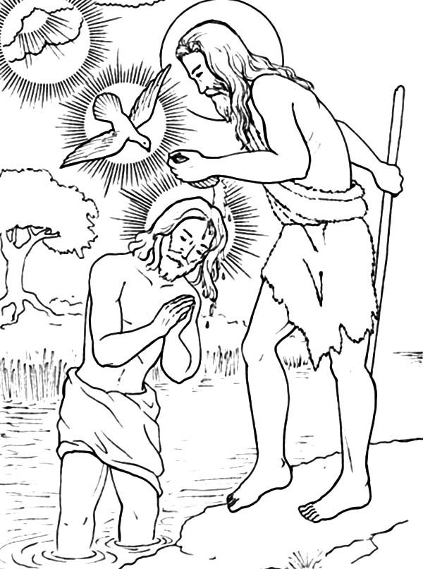 Baptism, : John Pouring Water on Jesus Head Coloring Pages