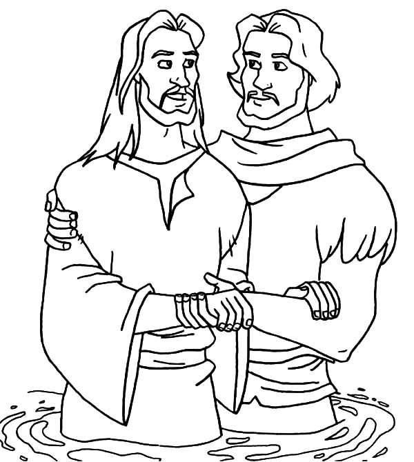 Baptism, : John the Baptism Talk to Jesus Coloring Pages