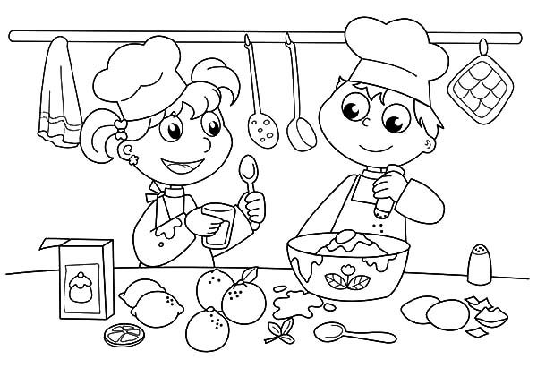 Baking Cookies, : Kids Baking Cookies Coloring Pages