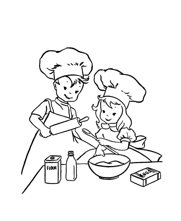 Baking Cookies, : Learn to Baking Cookies Coloring Pages