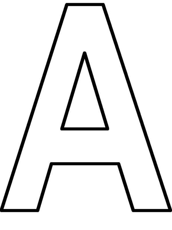 Letter A, : Learning Letter A Coloring Page