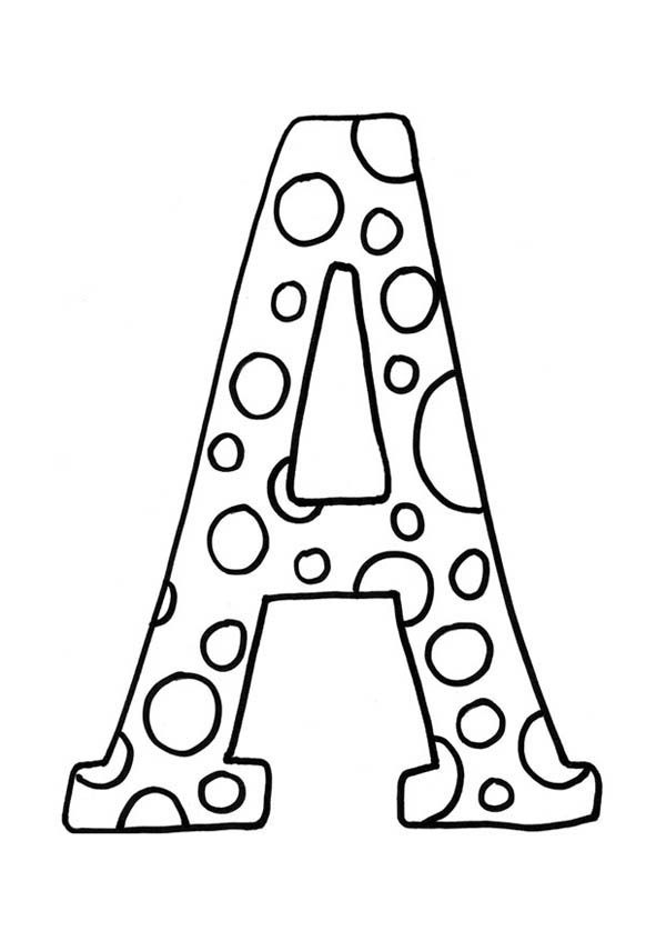 Letter A, : Learning Letter A for Kids Coloring Page