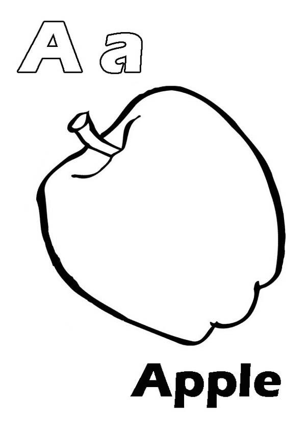 Letter A, : Letter A for Apple Coloring Page