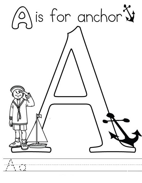 Letter A, : Letter A is for Anchor Coloring Page