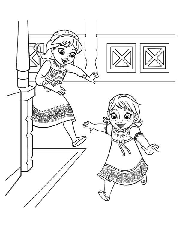 Frozen Young Elsa And Anna Coloring PageYoungPrintable Coloring