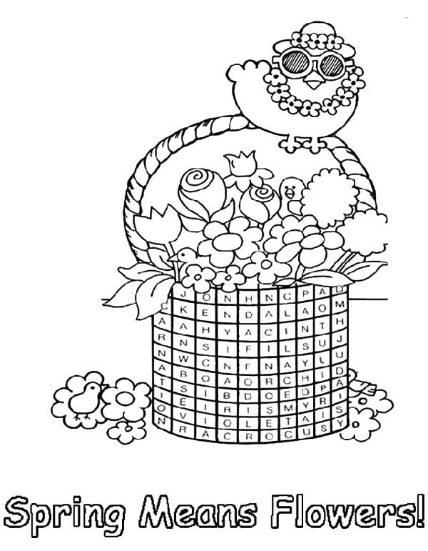 Basket of Flowers, : Little Bird Standing on Basket of Flowers Coloring Pages
