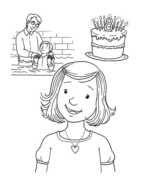 Baptism, : Little Girl Baptism Coloring Pages