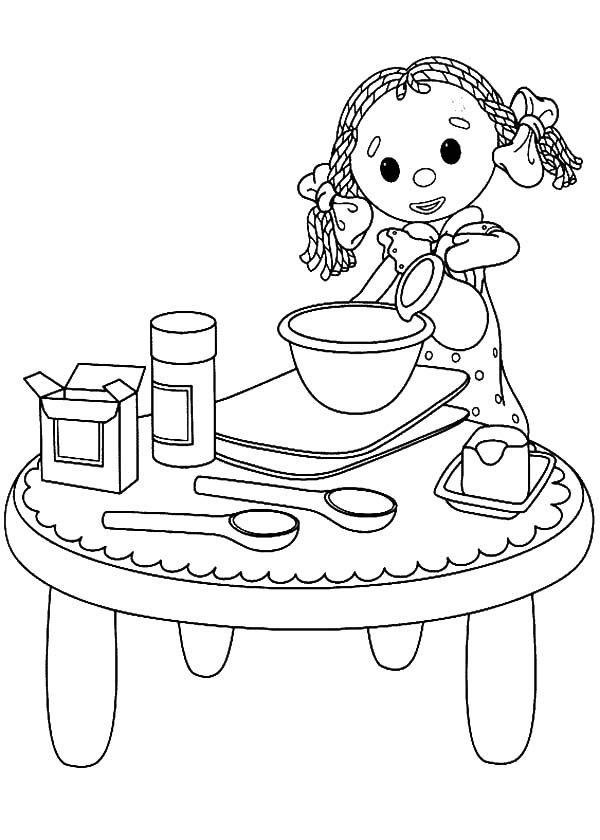 Baking Cookies, : Little Girl Play Baking Cookies Coloring Pages