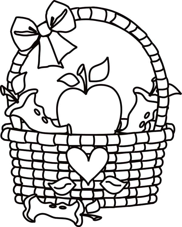 Apple Basket Coloring Page Decoration Pages Best Place