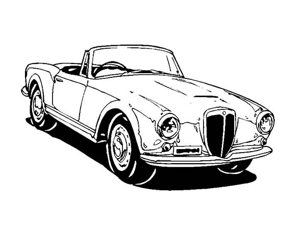 Antique Car, : Luxurious Antique Car Coloring Pages
