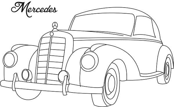 Antique Car, : Mercedes Antique Car Coloring Pages