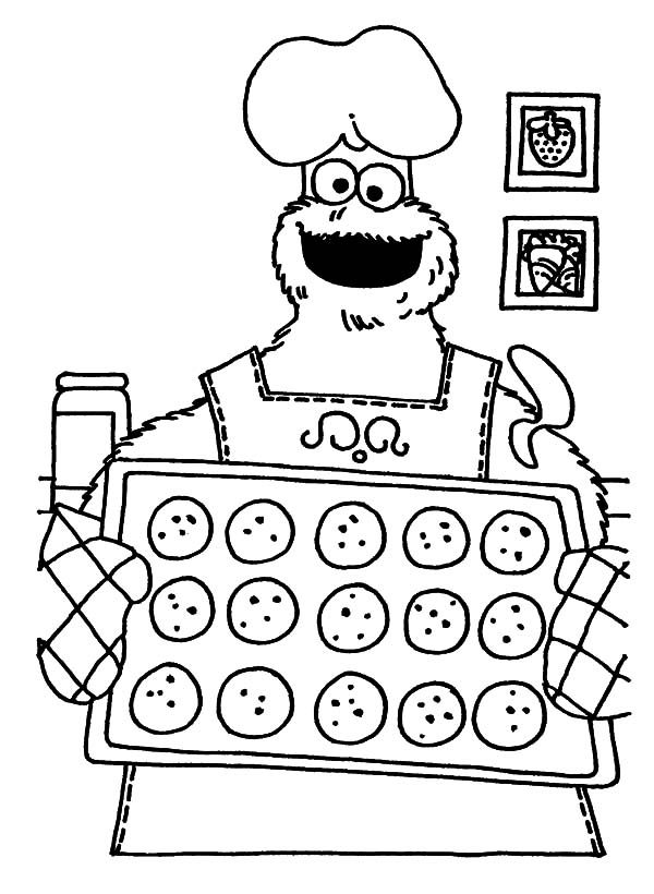 Baking Cookies, : Monster Cookie Baking Cookies Coloring Pages