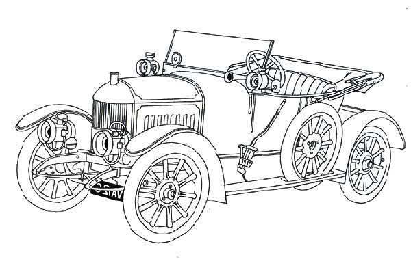 Antique Car, : Morris Oxford Antique Car Coloring Pages