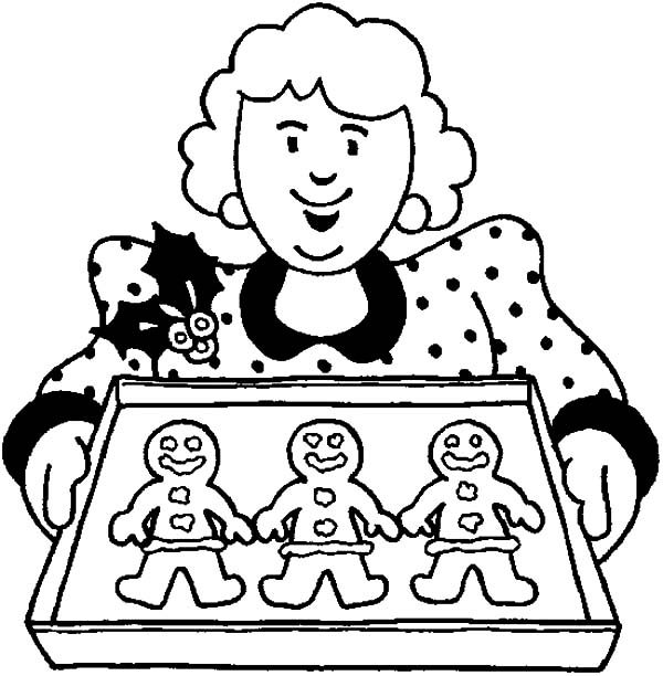 Baking Cookies, : Mother Awesome Baking Cookies Coloring Pages