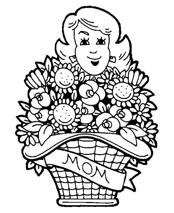 Basket of Flowers, : Mothers Day Basket of Flowers Coloring Pages
