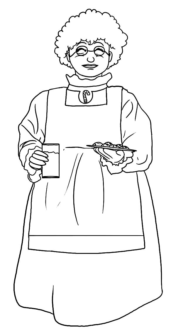 Baking Cookies, : Mrs Claus Baking Cookies and Glass of Milk Coloring Pages