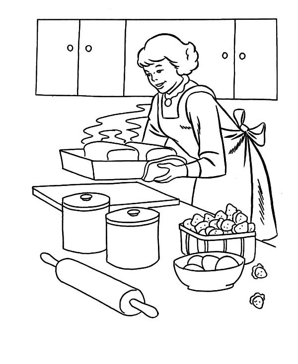 Baking Cookies, : My Mother Baking Cookies Coloring Pages
