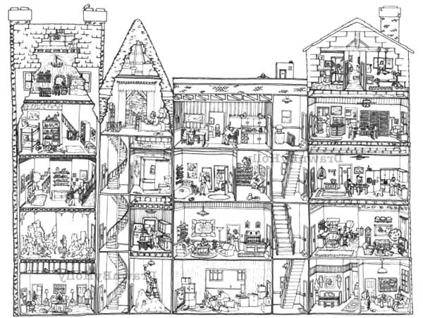 Apartment, : Nice and Cozy Apartment Coloring Pages