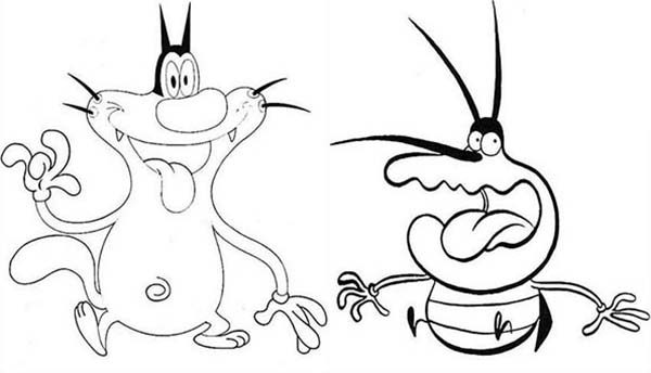 Oggy and the Cockroaches, : Oggy Meet Dee Dee in Oggy and the Cockroaches Coloring Pages