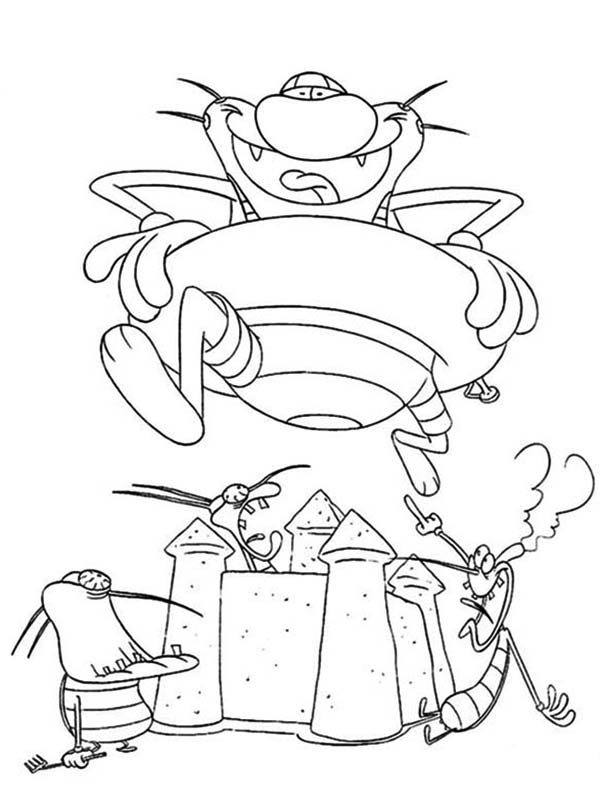Oggy and the Cockroaches, : Oggy Stepping on Cockroaches Sand Castle in Oggy and the Cockroaches Coloring Pages