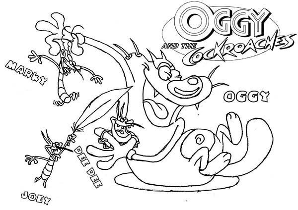 Oggy and the Cockroaches, : Oggy and the Cockroaches the Series Coloring Pages