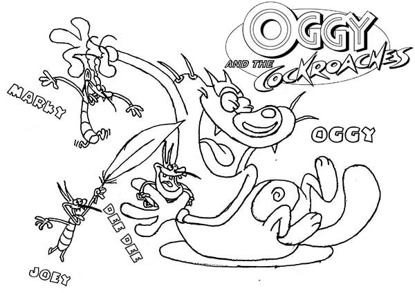 oggy and the cockroaches coloring pages online - photo #46