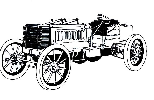 Antique Car, : One of the First Design Antique Car Coloring Pages