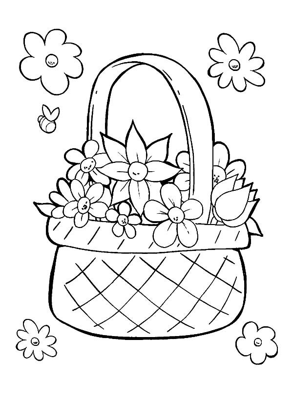 Perfect Basket of Flowers Coloring Pages | Best Place to Color
